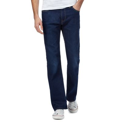 '527' dark wash mid blue bootcut jeans