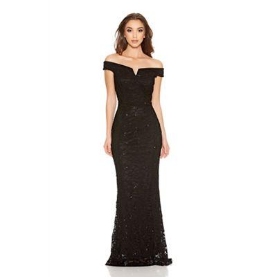Black Sequin Lace Bardot Fishtail Maxi Dress