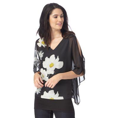 Black daisy print cold shoulder top