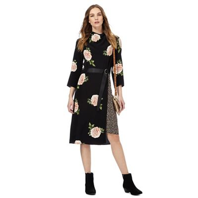 Black rose print dress