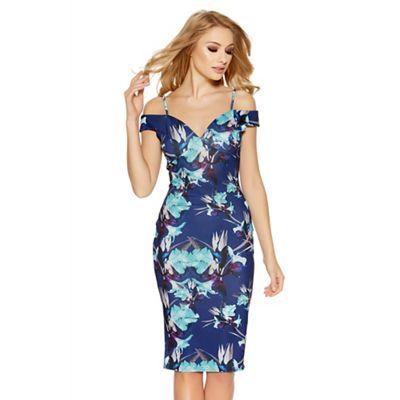 Navy and aqua flower print midi dress