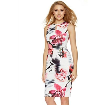 Cream and pink flower print keyhole bodycon dress