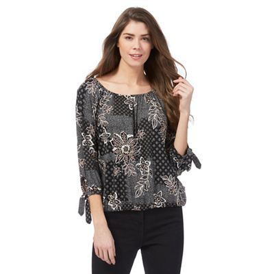 Black floral print blouse
