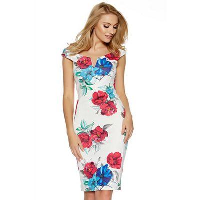 Cream pink and blue floral print bodycon midi dress