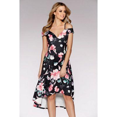Black and pink floral print bardot dip hem dress