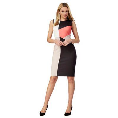 Black colour block dress