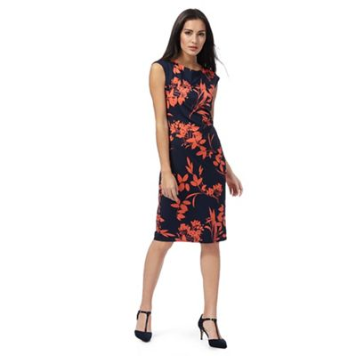 Navy and coral floral print dress