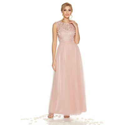 Pink tulle flower embellished maxi dress