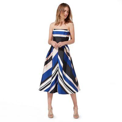 Multi-coloured striped prom dress