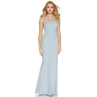 Pale blue crepe diamante keyhole dress