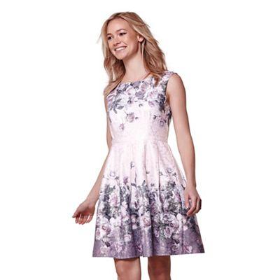 Brown floral print skater dress