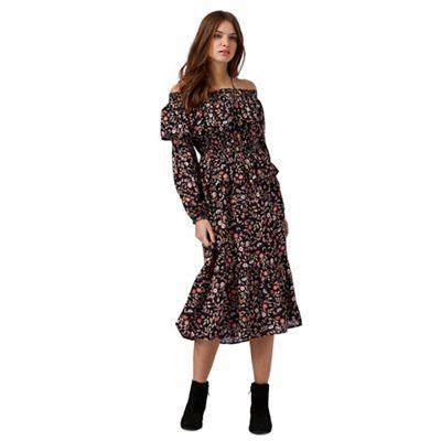 Black floral print ruffled dress