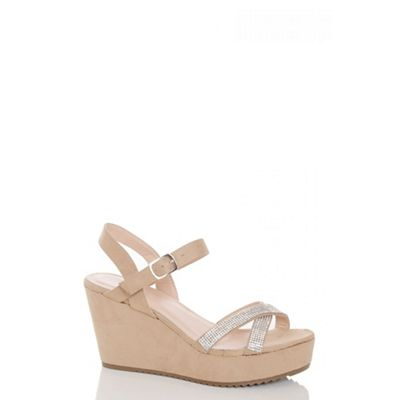 Beige faux suede diamante strap wedges