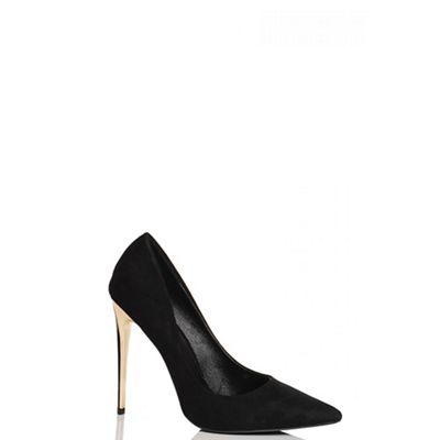 Black Faux Suede Gold Heel Court Shoes
