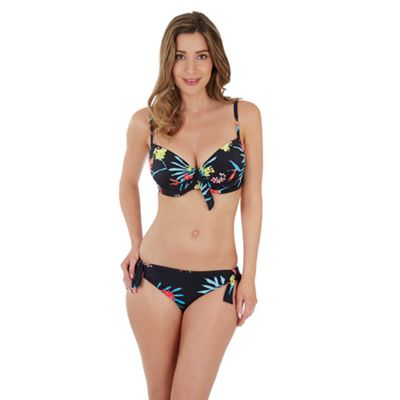 Black print 'tropics' moulded plunge bikini top