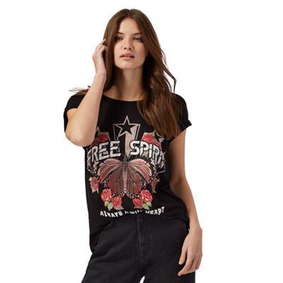 Black 'Free spirit' slogan print t-shirt