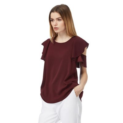 Dark red frilled sleeve top