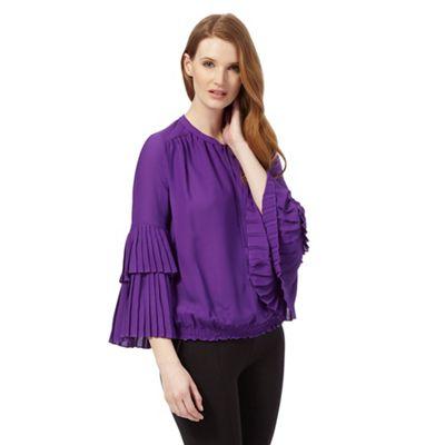 Purple pleated sleeve blouse