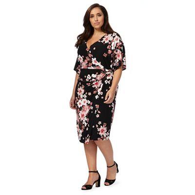 Black floral print wrap plus size kimono dress