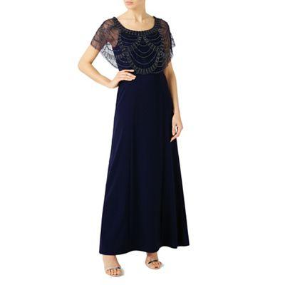 Beaded shawl maxi dress