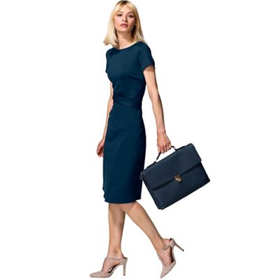 Teal Cross Waist Ponte Dress in Clever Fabric