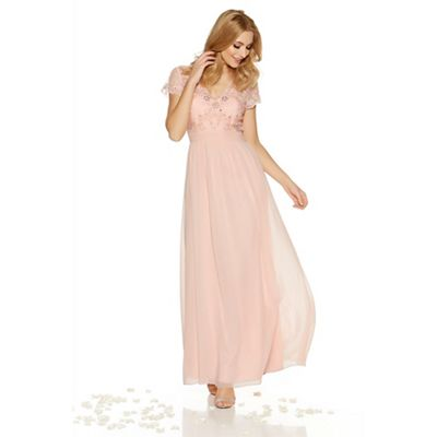 Peach chiffon embellished v neck maxi dress