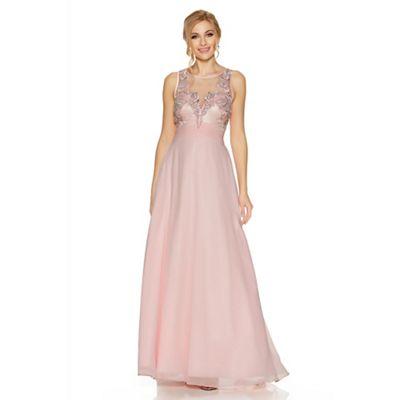 Pink chiffon embellished high neck tulle maxi dress