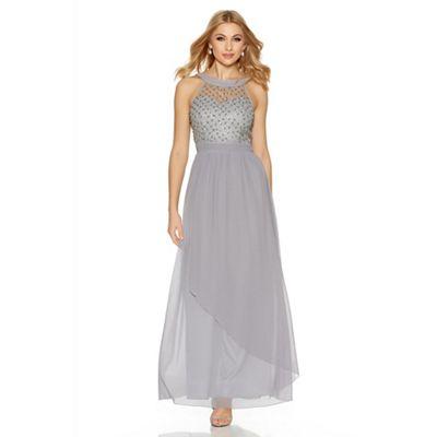 Grey chiffon high neck beaded maxi dress
