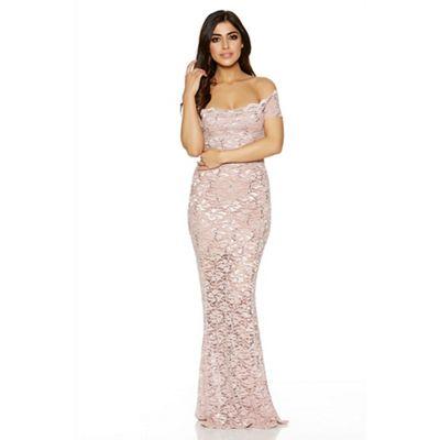 Dusky pink lace sequin bardot scallop maxi dress