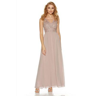 Mocha chiffon v neck embellished bodice maxi dress