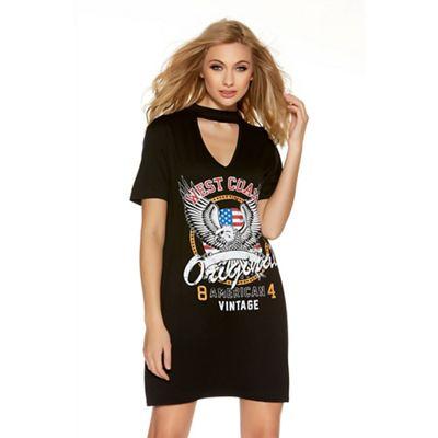 Black choker neck rock print t-shirt dress
