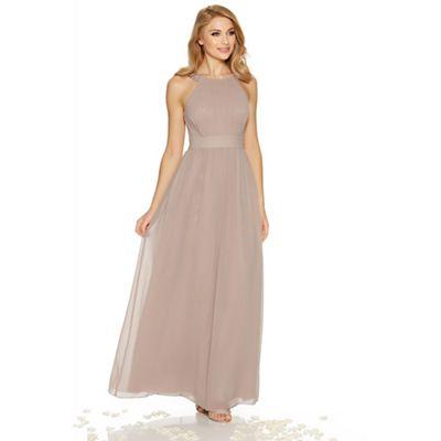 Mocha chiffon embellished high neck maxi dress
