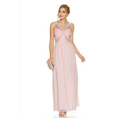 Pink chiffon diamante twist front maxi dress