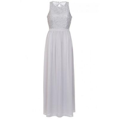 Grey chiffon pearl high neck maxi dress