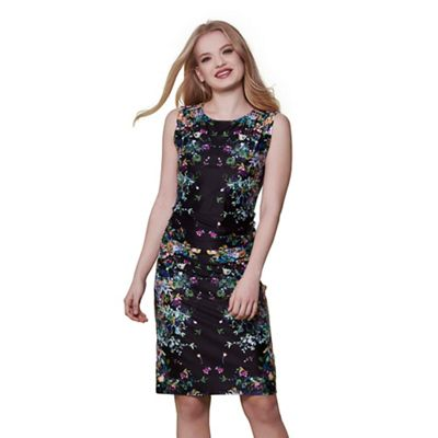 Black cascading floral mirrored jersey dress