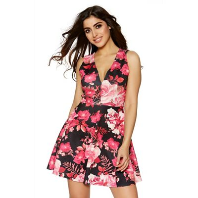 Black and pink floral print skater dress