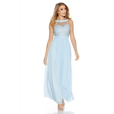 Blue chiffon high neck beaded maxi dress