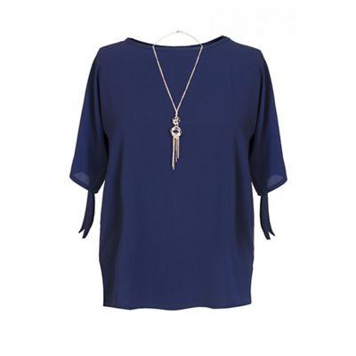 Navy curve crepe necklace top