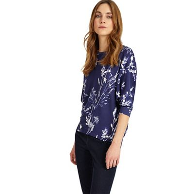 Blue simone print knitted top