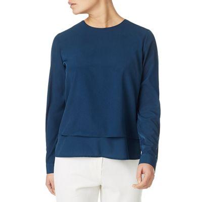 Mid blue layered hem blouse