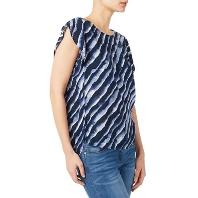 Mid blue lapping waves woven blouse