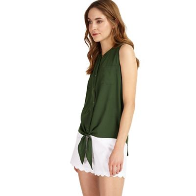 Green Allie tie front blouse