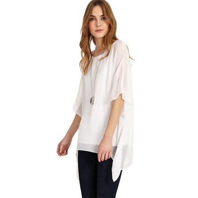 White maggie asymmetric silk blouse