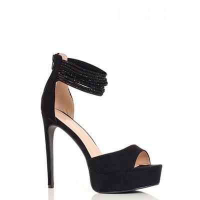 Black Faux Suede Diamante Multi Strap Sandals