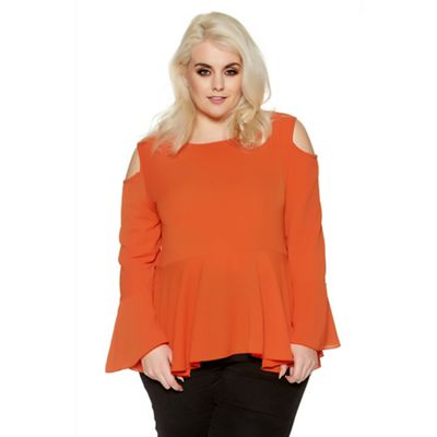 Curve orange bell sleeves cold shoulder top