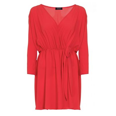 Curve red chiffon wrap tie front top