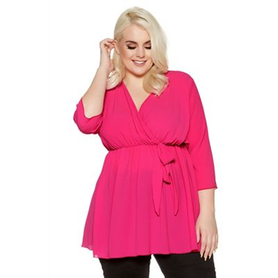 Curve hot pink chiffon wrap tie front top