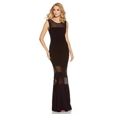 Black mesh insert fishtail maxi dress
