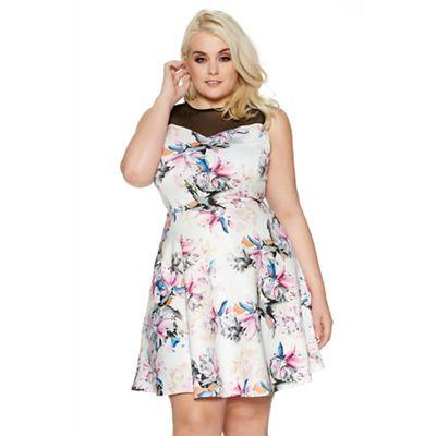 Cream curve floral print mesh sweetheart dress