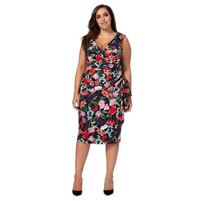 Multi-coloured floral print off-shoulder plus size dress